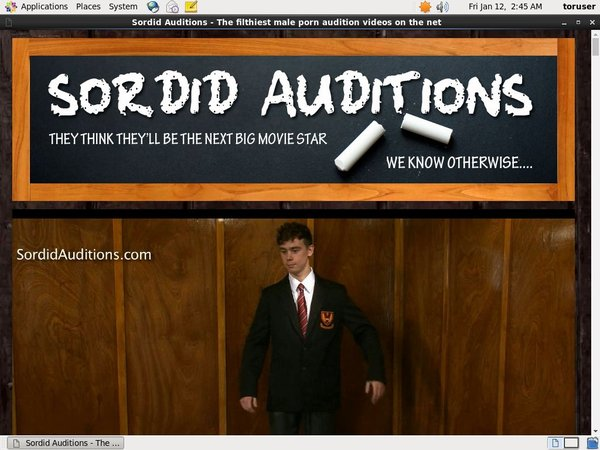 Sordid Auditions Accounts Working